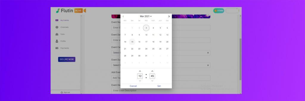 Schedule your event flutin live