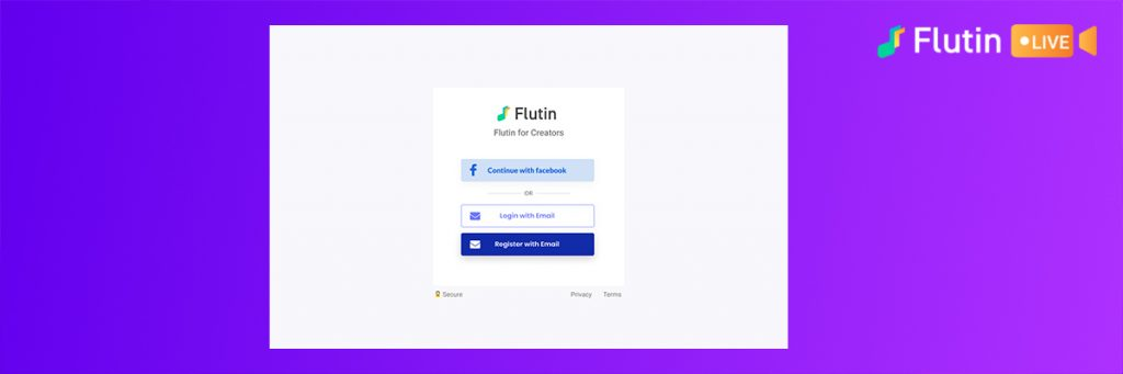 signing up on flutin live live streaming tool