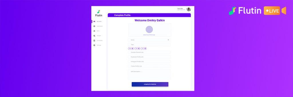 Set up your profile on Flutin Live