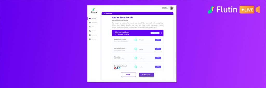 Publish and edit your event