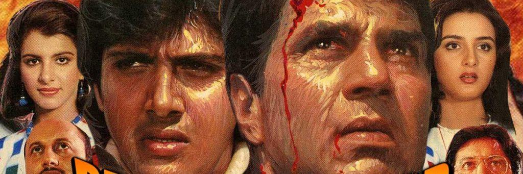 Hindi movie of Govinda and dharmendra for dumb charades game