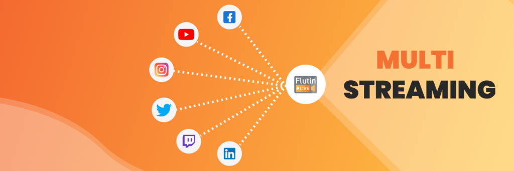 Flutin Live streaming features Multistreaming to different platforms
